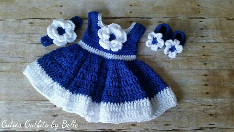 6faac2959 Crochet Baby Dress, Blue Baby Outfit, Handmade Baby Headband, Newborn Baby  Outfit, Baby Shower Gift, Infant Girl Dress, Baby Gift Flower