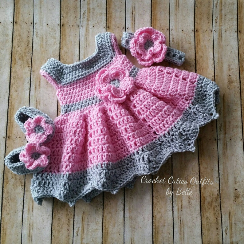 a52a39e9302e 3 pc Crochet Baby Dress Infant Baby Dress Baby Girl Dress