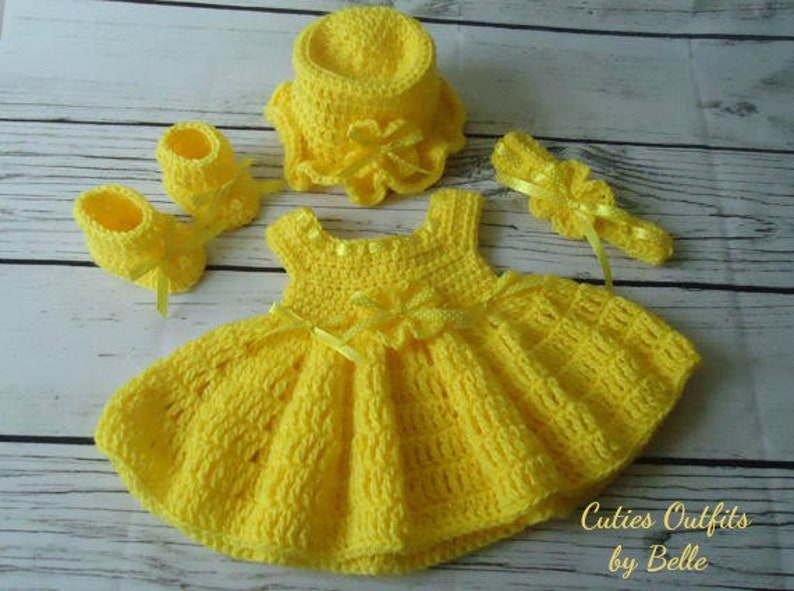 Yellow Baby Dress Newborn Baby Outfit Yellow Baby Girl Set Etsy