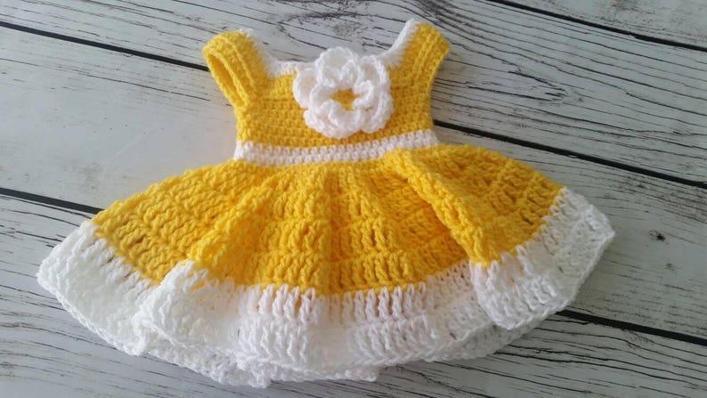Baby Dress Yellow Baby Dress Handmade Infant Dress 0 3 Etsy