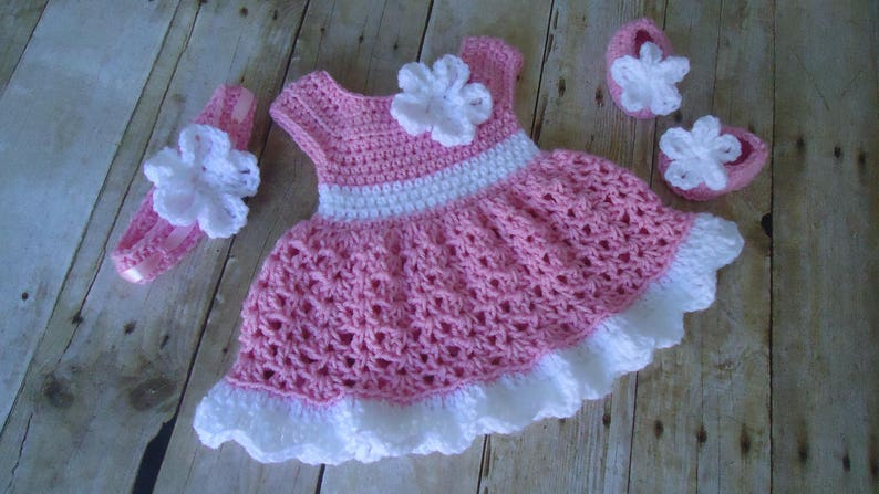 cecc492a5cf6b Pink Crochet Baby Set Infant Baby Dress Handmade Baby Girl | Etsy