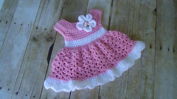 Baby Kleid Häkeln Babykleid Rosa Babykleid Kommen Nach Etsy
