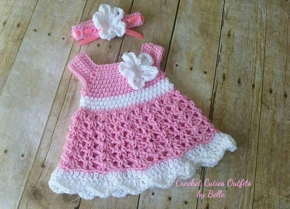 Crochet Baby Dress Pattern Free Crochet Pattern 0 3 Months Etsy