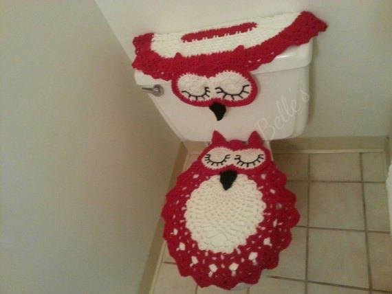 Excellent 2 Handmade Crochet Bathroom Set Tank Cover Lid Cover Owl Shaped Oval Bathroom Crochet Owl Bathroom Red White Black Dailytribune Chair Design For Home Dailytribuneorg