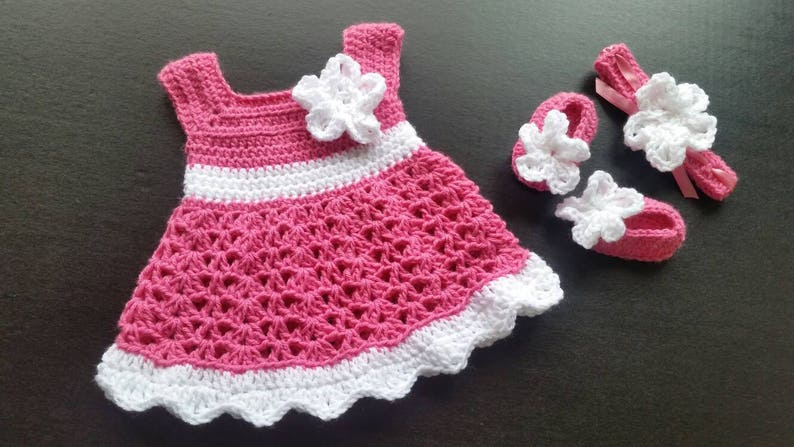 22d8378a6378 Pink Crochet Baby Set Infant Baby Dress Handmade Baby Girl