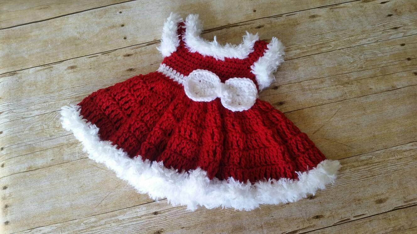 478e48521 Baby Dress Crochet Baby Dress Red Baby Dress Christmas Baby