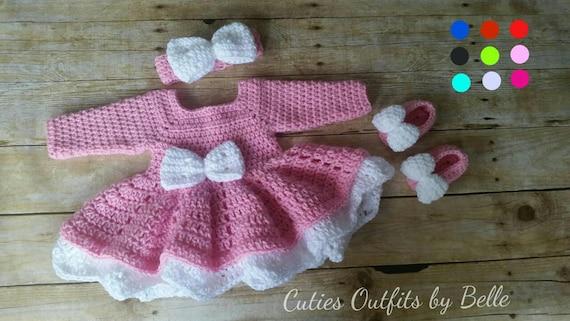 2c11b65d20cf Pink and White Baby Girl Crochet Dress with Headband White