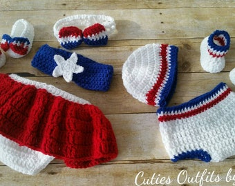 Twins Crochet Baby Photo Prop, Photo Prop Set, Baby Diaper Cover, Crochet Booties, Infant 4th of July Outfit, Crochet Patriotic Outfit