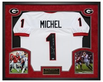 a51f4c8b6 Sony Michel Georgia Bulldogs Autographed White Jersey Framed in a Custom  Shadow Box Frame with Beckett Certificate of Authenticity