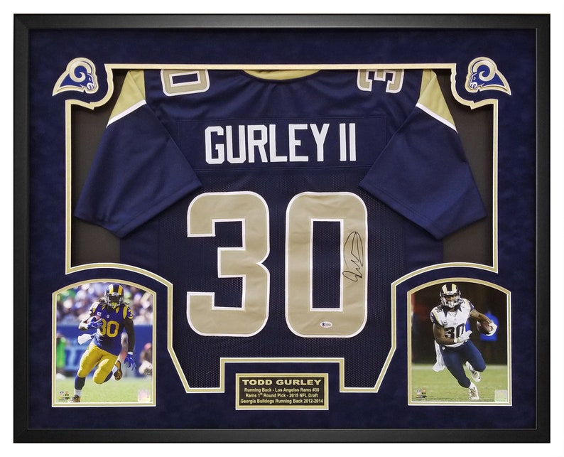 7955283d2d3 Todd Gurley Autographed Navy Jersey Framed in a Custom Shadow