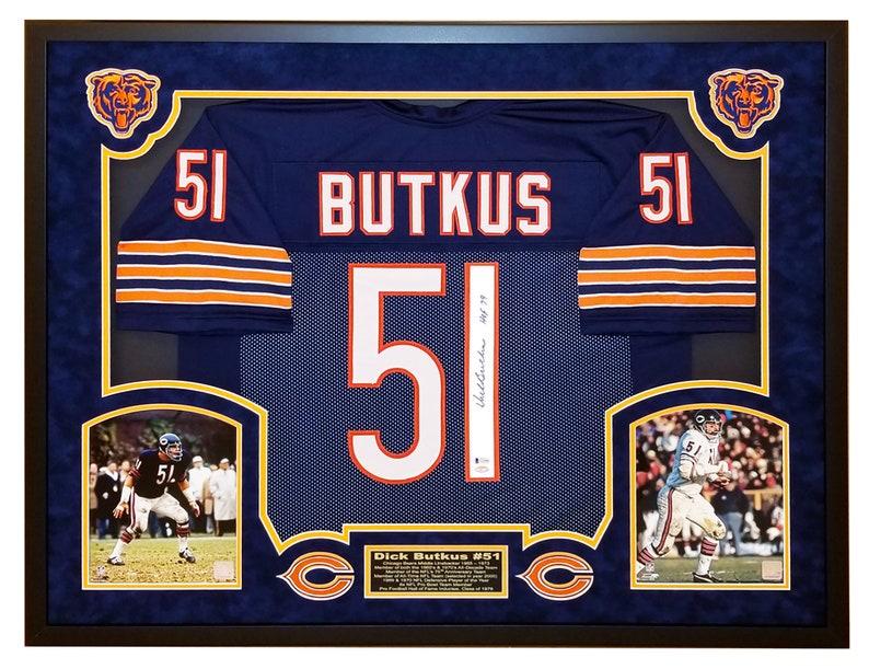 big sale 1761e e09a9 Dick Butkus Chicago Bears Autographed Jersey, Custom Framed Shadow Box w  Beckett COA