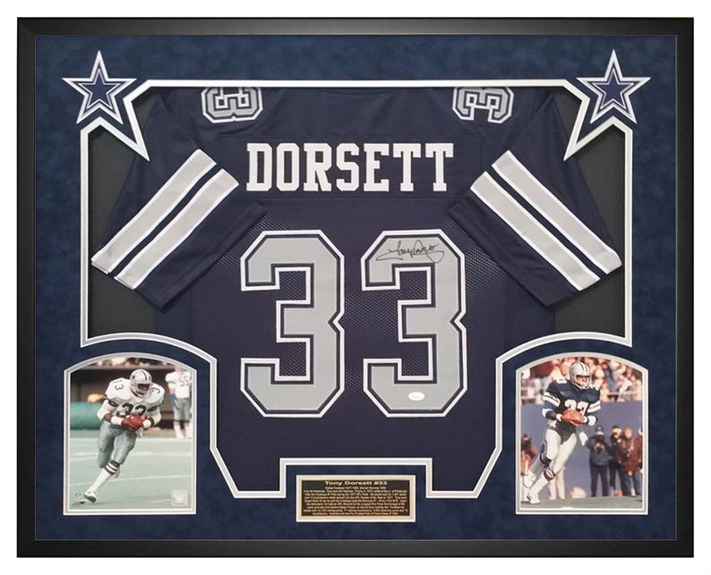 cheap for discount 2bad6 c1aed Tony Dorsett Dallas Cowboys Autographed and Custom Shadow Box Framed Custom  Jersey JSA Certificate of Authenticity