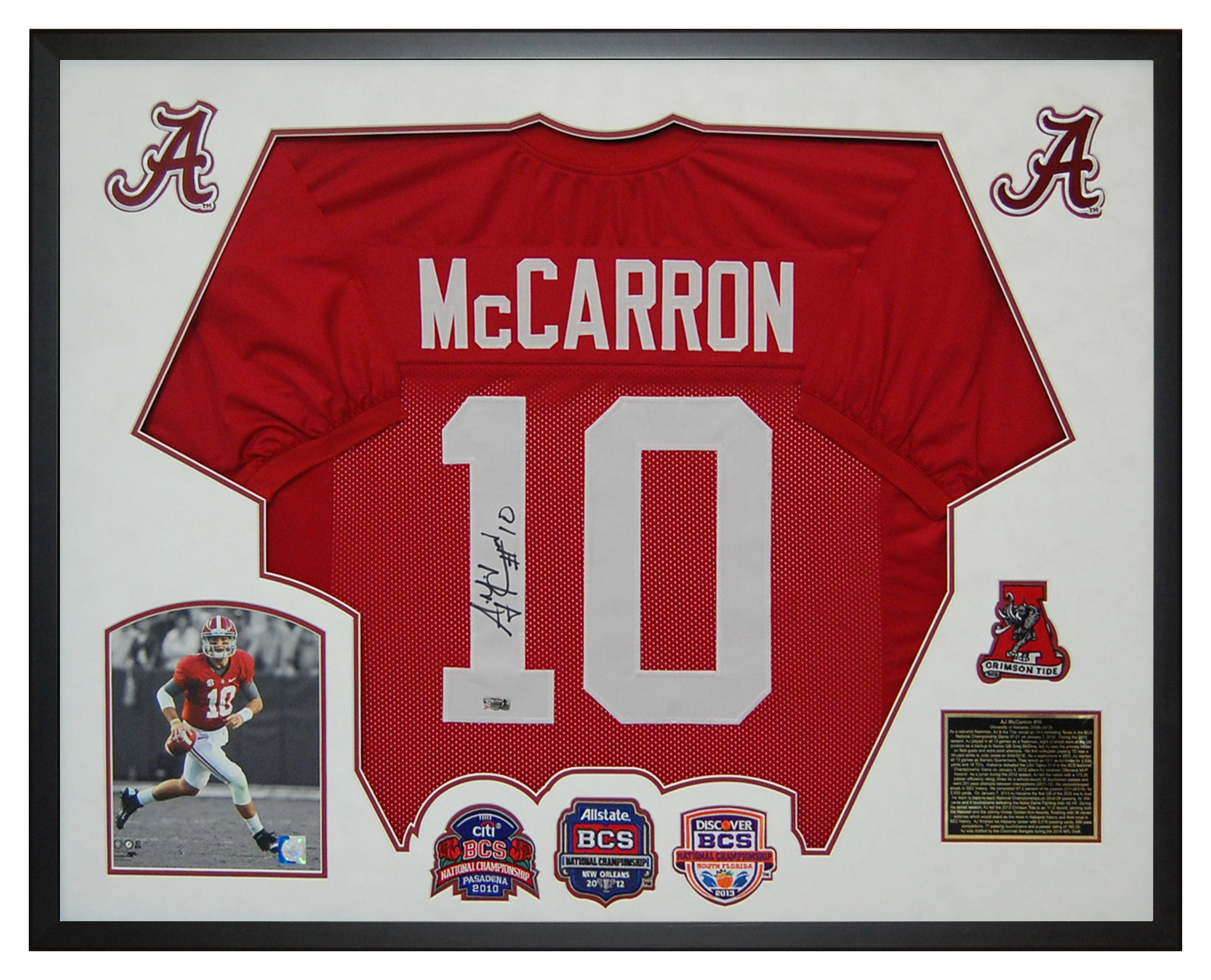 hot sale online 45041 eacce AJ McCarron Alabama Crimson Tide Autographed / Hand Signed Jersey Framed in  a Custom Deluxe Shadow Box with Certificate of Authenticity