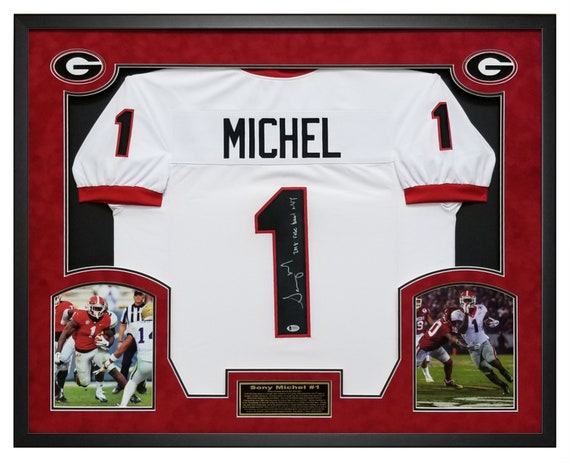 Sony Michel Georgia Bulldogs Autographed White Jersey Framed   Etsy