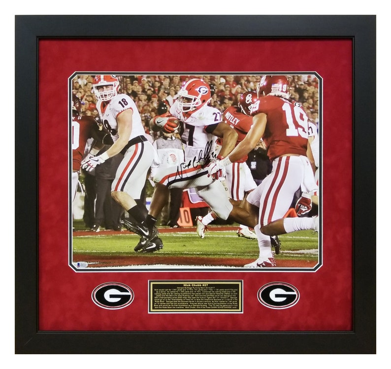 online retailer 2d711 5a9c5 Nick Chubb Autographed / hand Signed Georgia Bulldogs Deluxe Framed 16x20  Photo 2018 Rose Bowl game tying Touchdown w Beckett COA
