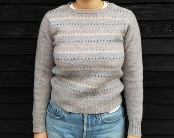 Vintage Aston of Scotland | 100% Shetland New Wool Pullover Sweater | Pastel Print Fair Isle | Heavyweight Wool Knit Sweater | SZ (XS) - (S)