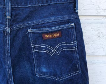 0527ca15 Vintage 30 x 28 Wrangler Jeans | Dark Wash Faded Denim | High Rise, Boot Cut,  Scovill Zipper Fly | Pocket Stitching | USA Made