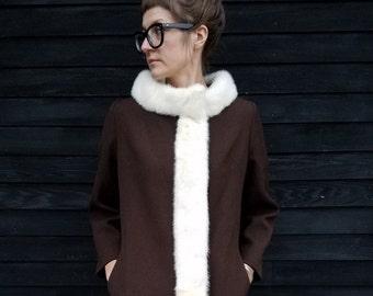Vintage Nordstrom Best Chocolate Brown Coat | Mink Fur Details | Wool Outer, Silk Lining | 1970's | Long Winter Coat | Size (S) - (M)