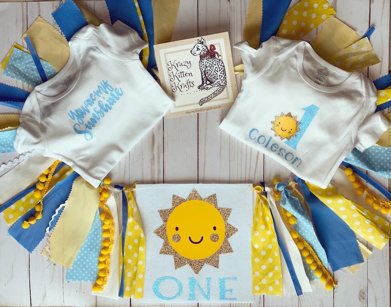 You Are My Sunshine first birthday highchair banner photography prop in Blue hues