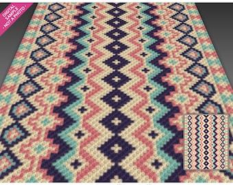 Aztec Design 2 crochet graph (c2c, mini c2c, sc, hdc, dc, tss), cross stitch, knitting; PDF download, no counts or instructions