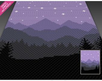 Starry Sky crochet graph cross stitch; (c2c, mini c2c, sc, hdc, dc, tss); knitting;  PDF download, no counts/ instructions