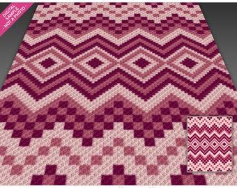 Abstract Design 9 crochet graph (c2c, mini c2c, sc, hdc, dc, tss), cross stitch, knitting; PDF download, no counts or instructions