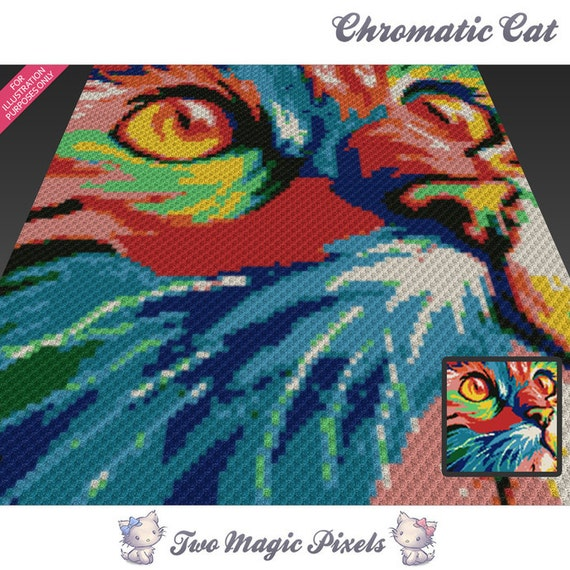 Chromatic Cat Crochet Blanket Pattern C2c Cross Stitch Knitting Graph Pdf Download No Written Counts Or Row By Row Instructions