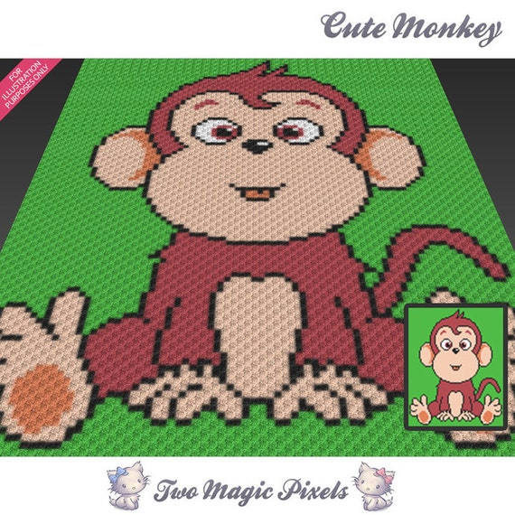 Cute Monkey Crochet Blanket Pattern C2c Cross Stitch Etsy