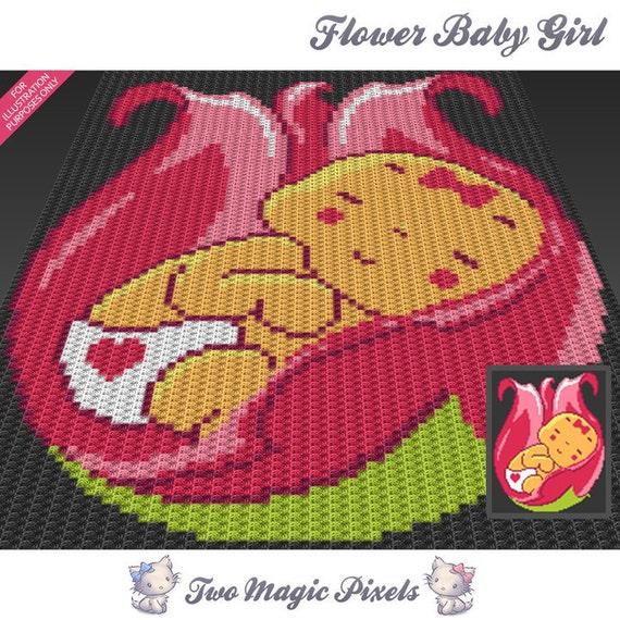 Flower Baby Girl Crochet Blanket Pattern C2c Cross Stitch