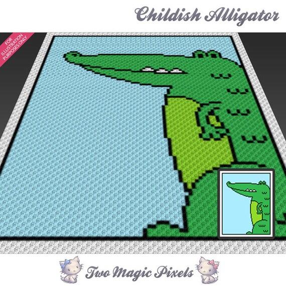 Childish Alligator Crochet Blanket Pattern C2c Cross Stitch Etsy