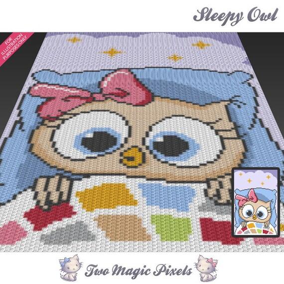 Sleepy Owl Crochet Blanket Pattern C2c Cross Stitch Etsy