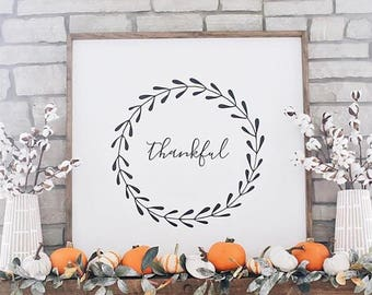 THANKFUL // 36X36 // Painted Wood Sign