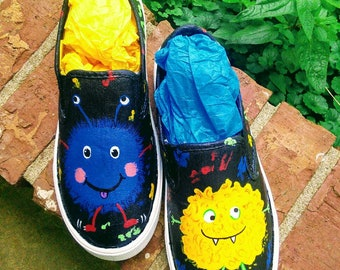Little Monsters; Monsters Shoes; Cute Monsters; Customized Monsters; Customized Monsters Shoes;  Blue Monster Shoes;