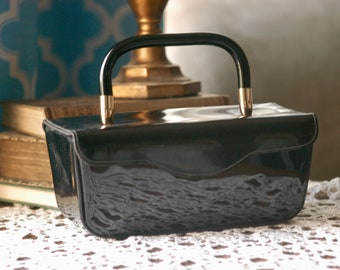 Black Patent Leather Jana 1960s Purse