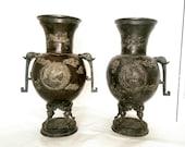 A Pair of Antique Japanese Meiji Period (1868-1912) Bronze Dragon Vases (602)