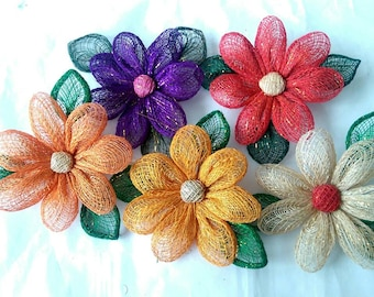 Handmade Abaca Artificial Sunflower Brooch Corsage - Various Colours (505379)