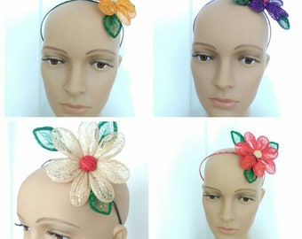 Handmade Abaca Sunflower Fascinator Headband