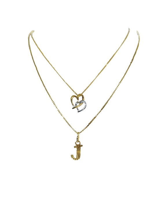 9ct Gold Heart and J Pendants on Gold Chains - 2 S