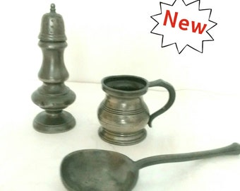 Antique 18th Century Pewter Spoon, Jug and Pepper Shaker