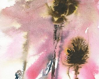 Teasles/Teasle Seedheads/ Teasles Watercolour Print