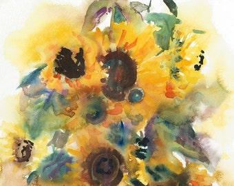 Sunflowers/Watercolour Sunflowers
