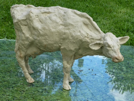 VINTAGE in resina da giardino in PIEDI Animali Fattoria Mucca Da Latte Scultura Ornamento Figurina