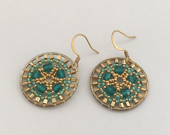 Small Blue and Gold Beaded Sand Dollar Earrings