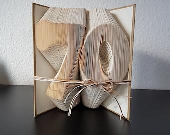 Geschenk 70. Geburtstag , gefaltetes Buch, Buchkunst, Geburtstag, Geschenk, Buchkunst