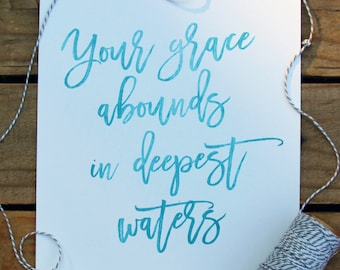 Oceans by Hillsong United PRINTABLE Wall Art | 8x10 | Instant Download, Home Decor, Inspirational Print, Scripture Print