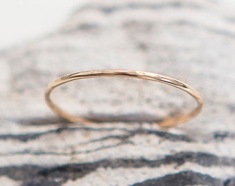 Dainty Ring | 14K Gold Filled | Plain Gold Ring | Thin Ring | Stacking Ring | Delicate Ring | Hammered Ring | Gift For Her