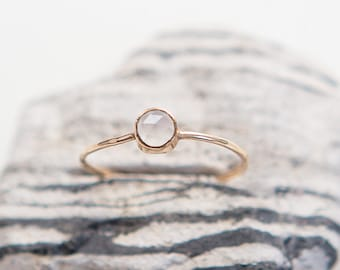 Dainty Chalcedony Ring | 14K Gold Filled | Stacking Ring | Cabochon | Minimalist Jewelry | Gift For Her