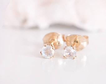 Moonstone Stud Earrings / 14K Gold Filled / Sterling Silver / June Birthstone Earring / Gift For Her