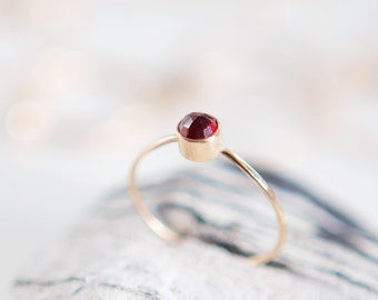 Garnet Ring | January Birthstone | 14K Gold Filled | Stacking Ring | Birthstone Ring | Gemstone Ring | Boho | Minimalist Ring | Gift For Her