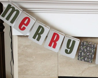 Merry Christmas Holiday Hanging Banner / Red, Green, Gray, & Holly / Holiday Decor / Christmas Decor / Mantle Decorations / Party Decor